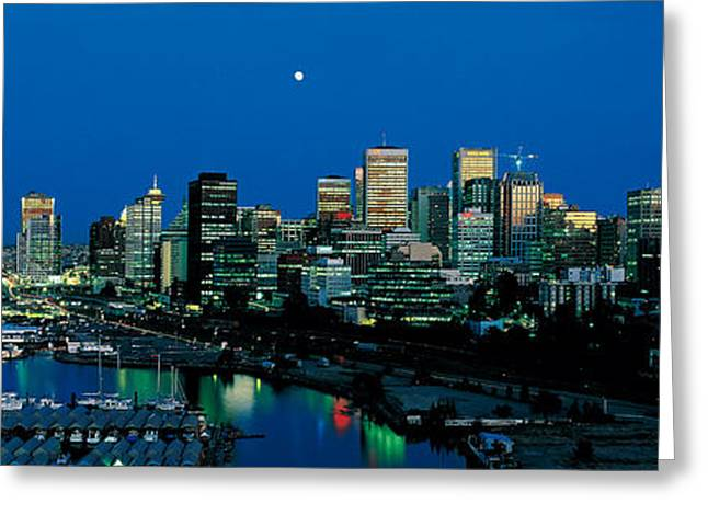 Moonrise Greeting Cards - Evening Skyline Vancouver British Greeting Card by Panoramic Images