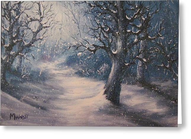 Winter Night Greeting Cards - Evening snow Greeting Card by Megan Walsh