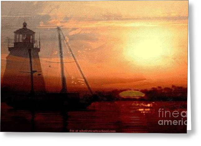 Yellow Sailboats Mixed Media Greeting Cards - Evening Splendor Greeting Card by PainterArtist FIN