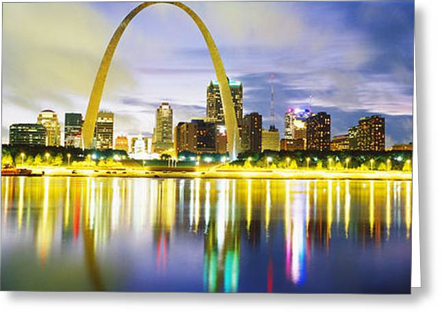 Stainless Steel Greeting Cards - Evening, St Louis, Missouri, Usa Greeting Card by Panoramic Images
