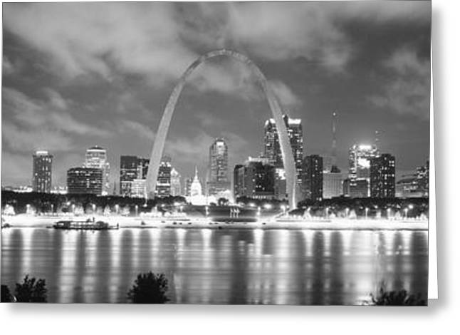 Gateway Arch Greeting Cards - Evening St Louis Mo Greeting Card by Panoramic Images