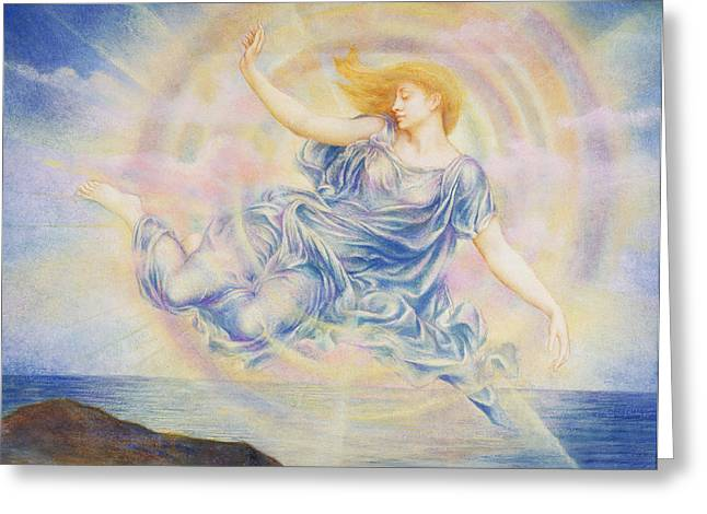 Williams Greeting Cards - Evening Star Over the Sea Greeting Card by Evelyn De Morgan