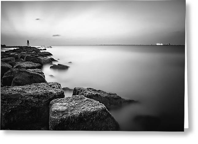 Galveston Greeting Cards - Evening Stillness BW Greeting Card by Thomas Zimmerman