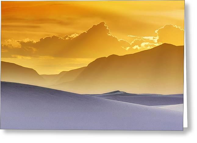 Gradations Greeting Cards - Evening Stillness - White Sands Sunset - Duvet Greeting Card by Nikolyn McDonald