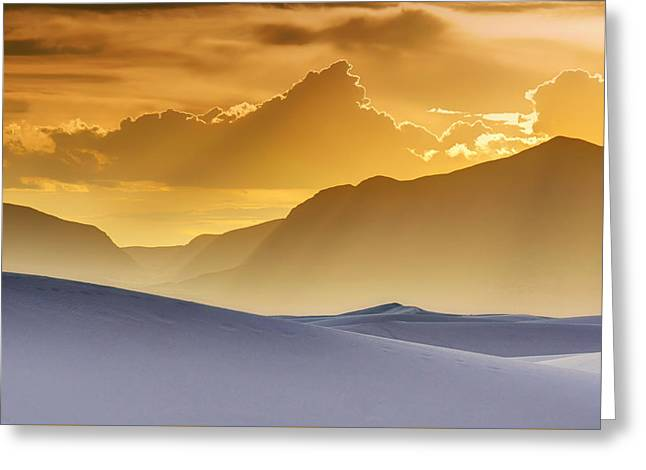 Gradations Greeting Cards - Evening Stillness - White Sands Sunset Greeting Card by Nikolyn McDonald