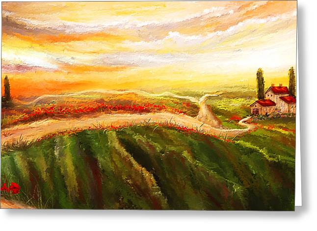 Tuscan Sunset Greeting Cards - Evening Sun - Glowing Tuscan Field Paintings Greeting Card by Lourry Legarde