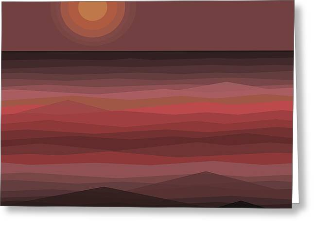 Muted Mauve Greeting Cards - Evening Sunset 2 Greeting Card by Val Arie
