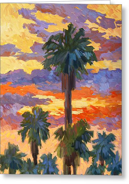 Spring Scenes Greeting Cards - Evening Sunset and Palms Greeting Card by Diane McClary