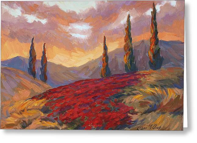 Cedar Tree Greeting Cards - Evening Sunset in Tuscany Greeting Card by Diane McClary