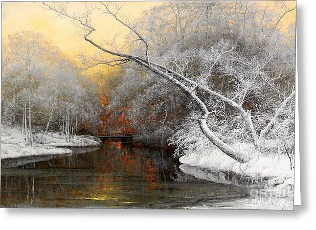 Snow Tree Prints Paintings Greeting Cards - Evening Sunset In Winter Greeting Card by Pg Reproductions