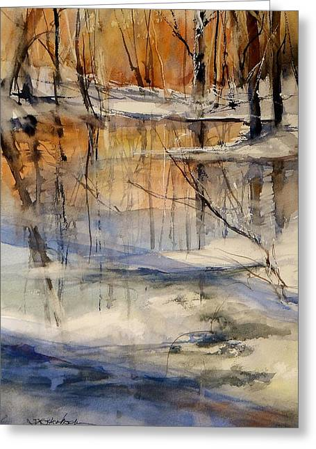 Fall Of River Paintings Greeting Cards - Evening Thaw Greeting Card by Sandra Strohschein