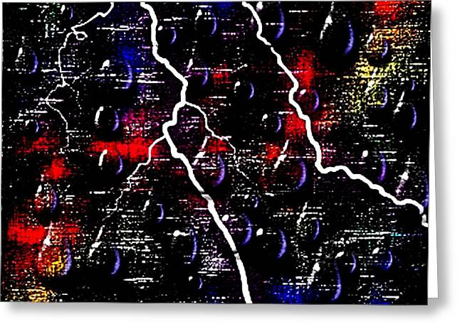 Flooding Digital Art Greeting Cards - Evening Thunderstorm In Center City Greeting Card by L Brown