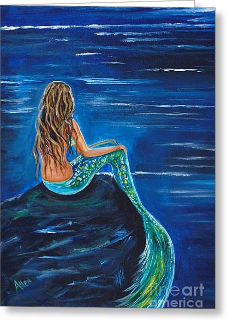 Print On Canvas Greeting Cards - Evening Tide Mermaid Greeting Card by Leslie Allen