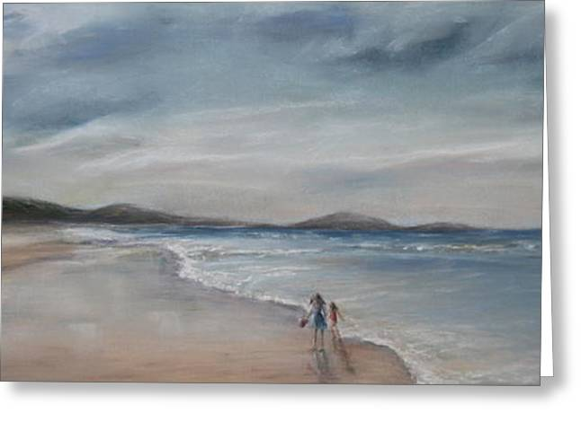 Sandy Beaches Pastels Greeting Cards - Evening Tide Greeting Card by Rachael Curry