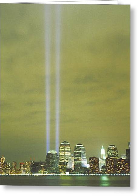 9-11 Greeting Cards - Evening, Towers Of Light, Lower Greeting Card by Panoramic Images