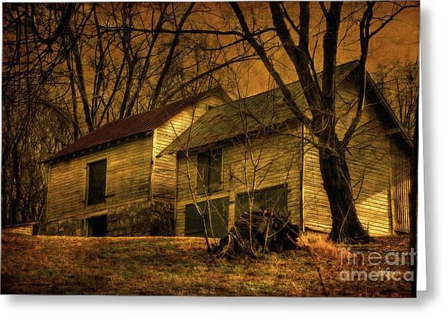 Barn Digital Greeting Cards - Evening Twilight Fades Away Greeting Card by Lois Bryan