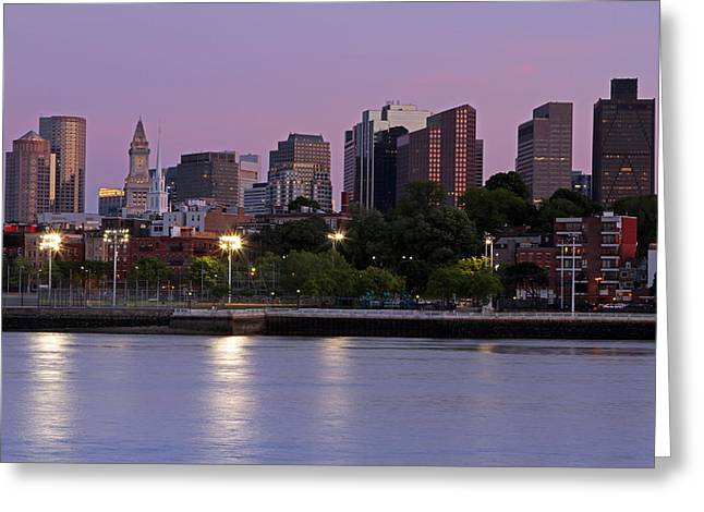 Boston Ma Greeting Cards - Evening View of Boston Greeting Card by Juergen Roth