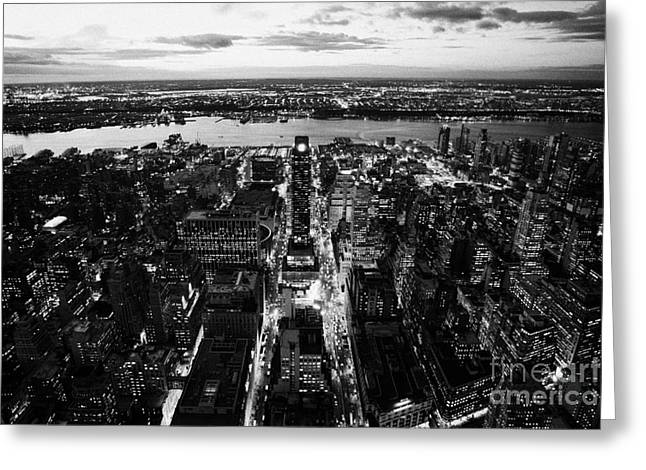 Manhatan Greeting Cards - Evening View Of Manhattan West Towards Hudson River And One Penn Plaza Night New York City Greeting Card by Joe Fox