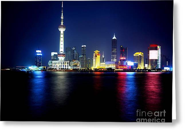 Pudong Greeting Cards - Evening View Of Pudong Greeting Card by Rafael Macia