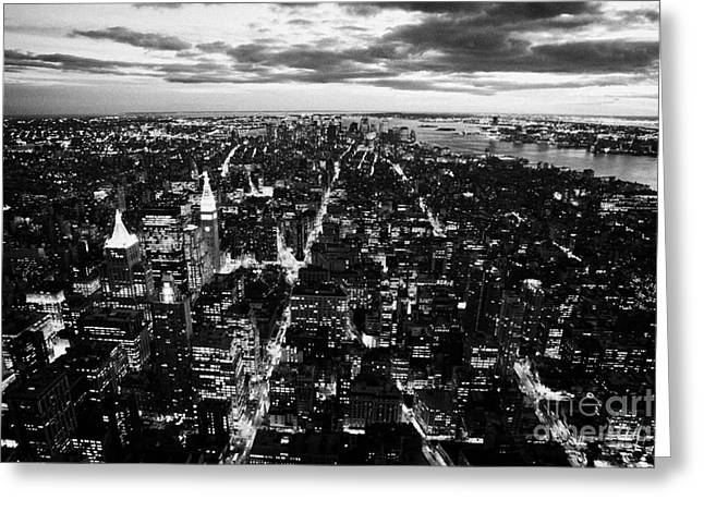 Evening View Of South Manhattan And Sunset  Greeting Card by Joe Fox