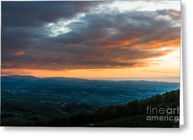 Tuscan Hills Greeting Cards - Evening view of the Tuscan Countryside Greeting Card by Peter Noyce