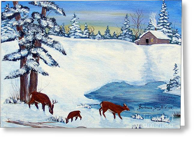 Evening Visitors Greeting Card by Barbara Griffin