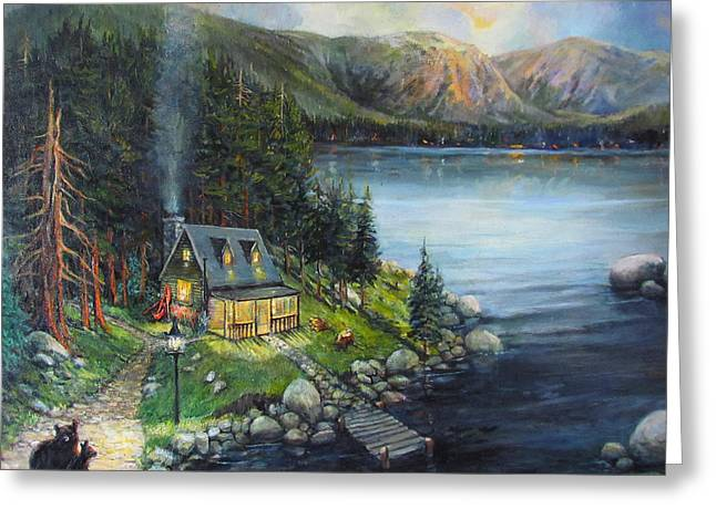 Canoe Paintings Greeting Cards - Evening Visitors Greeting Card by Donna Tucker