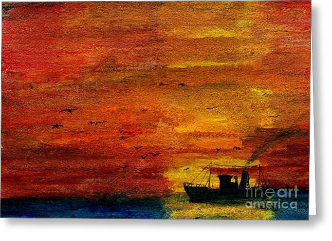Gloaming Paintings Greeting Cards - Evening Visitors Greeting Card by R Kyllo