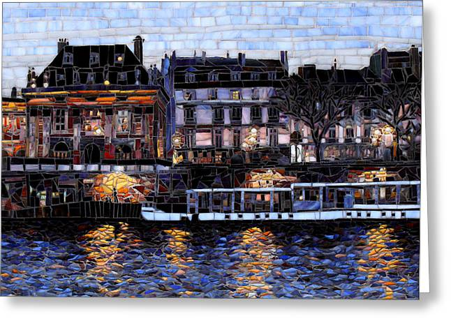 Cityscape Glass Greeting Cards - Evening Walk on the Seine Greeting Card by Sandra Bryant