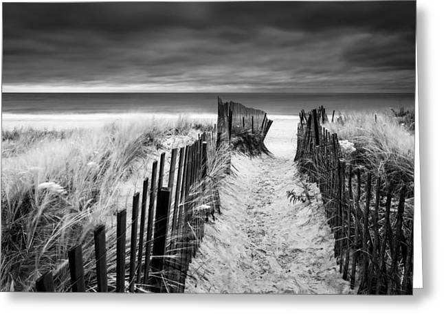 Hamptons Greeting Cards - Evening Wave Check BW Greeting Card by Ryan Moore