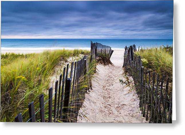 York Beach Photographs Greeting Cards - Flying Point Beach Vista Greeting Card by Ryan Moore