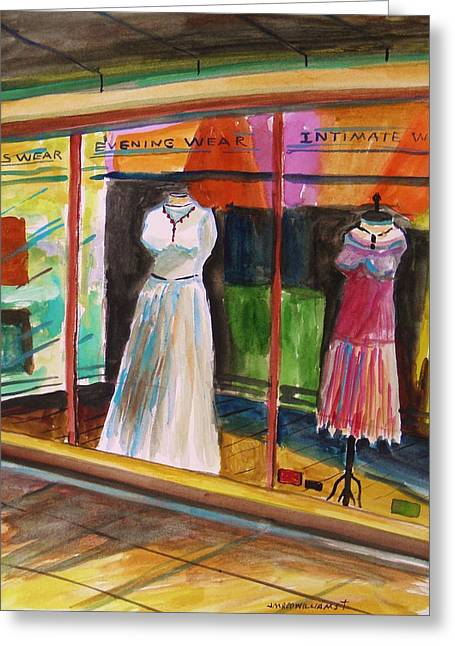 Evening Dress Drawings Greeting Cards - Evening Wear Greeting Card by John  Williams