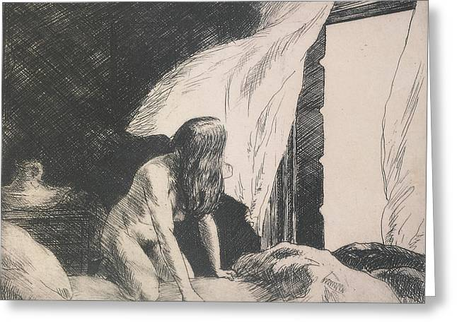 Ink Drawing Greeting Cards - Evening Wind Greeting Card by Edward Hopper