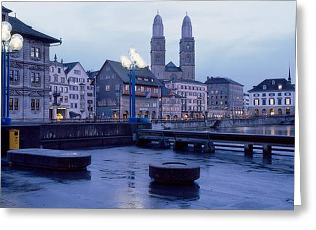 Night Lamp Greeting Cards - Evening, Zurich, Switzerland Greeting Card by Panoramic Images