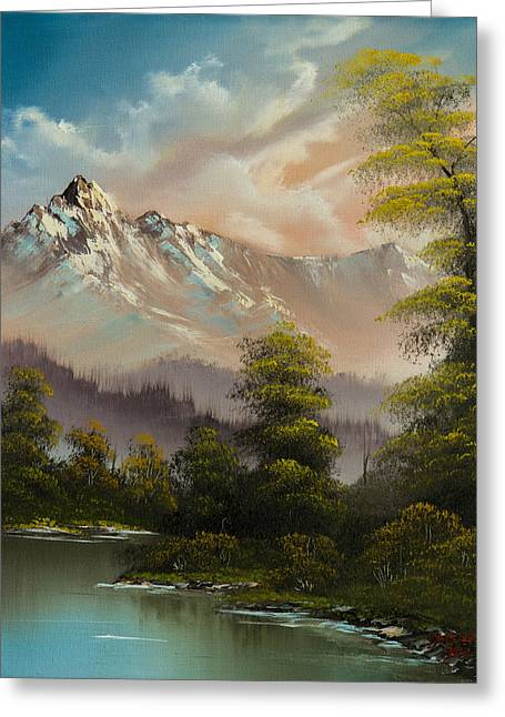 Bob Ross Paintings Greeting Cards - Evenings Glow Greeting Card by C Steele
