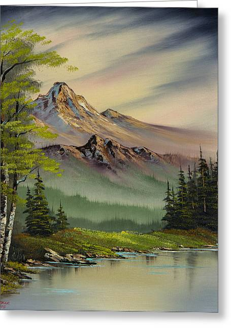 Bob Ross Paintings Greeting Cards - Evenings Peace Greeting Card by C Steele