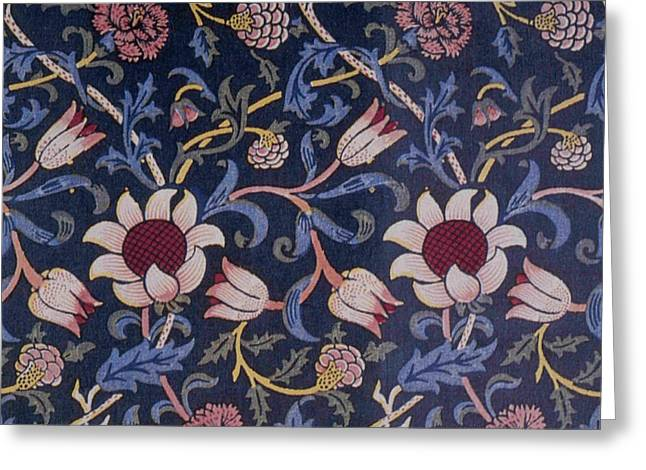 Wallpaper Tapestries Textiles Greeting Cards - Evenlode Design Greeting Card by William Morris