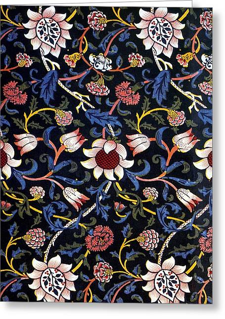 Print Tapestries - Textiles Greeting Cards - Evenlode in Blue Design Greeting Card by William Morris