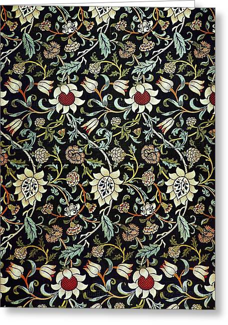 Print Tapestries - Textiles Greeting Cards - Evenlode Pattern in Green Greeting Card by William Morris