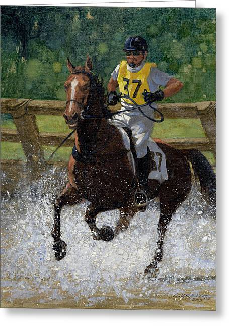 Puddle Paintings Greeting Cards - Eventing Horse Greeting Card by Don  Langeneckert