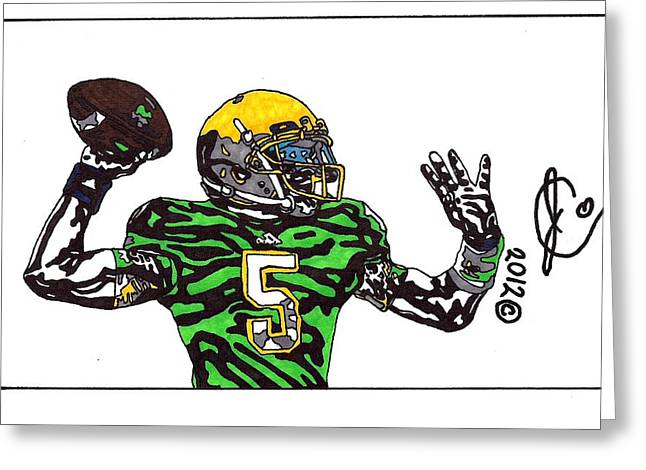 Universities Drawings Greeting Cards - Everett Golson Greeting Card by Jeremiah Colley