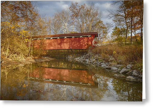 Cvnp Greeting Cards - Everett Rd. Covered Bridge in Fall Greeting Card by Jack R Perry