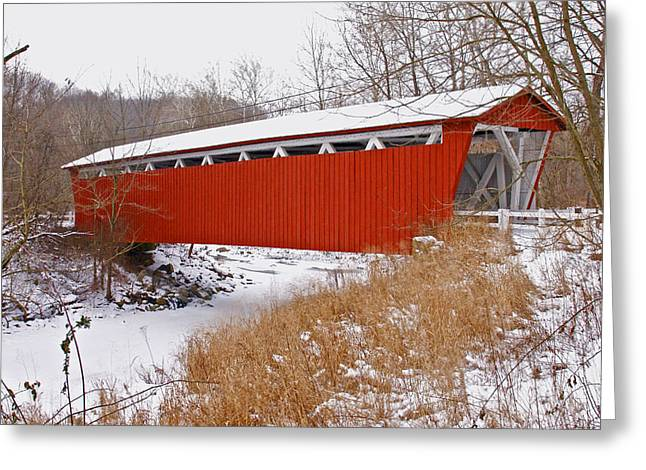 Jack R Perry Greeting Cards - Everett Rd. Covered Bridge in Winter Greeting Card by Jack R Perry