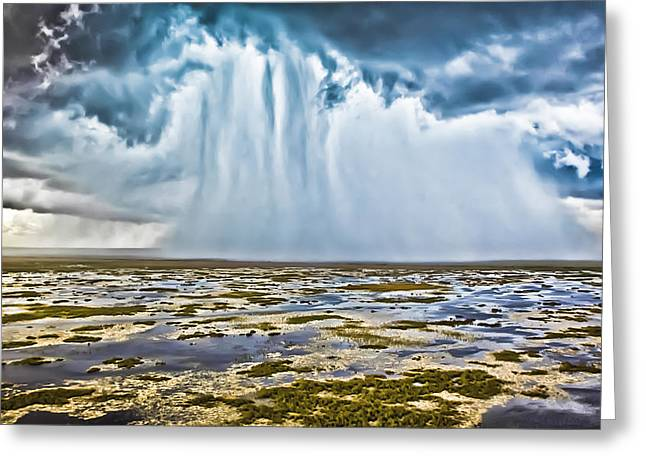 Stormy Weather Greeting Cards - Everglades Downpour Greeting Card by Patrick M Lynch