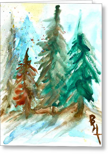 Brnch Greeting Cards - Evergreen Forest Greeting Card by Beverley Harper Tinsley