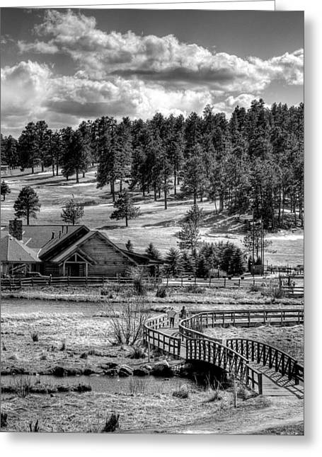 Lake House Greeting Cards - Evergreen Lake House Fall Greeting Card by Ron White