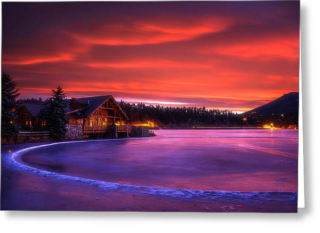 Colorado Greeting Cards Greeting Cards - Evergreen Lake Sunrise Greeting Card by Darren  White