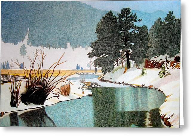 Winter Storm Drawings Greeting Cards - Evergreen Lake Winter Greeting Card by Dan Miller