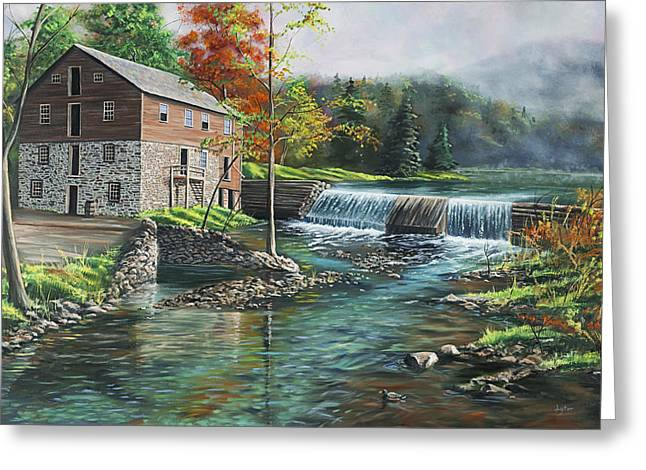 Grist Mill Paintings Greeting Cards - Everharts Mill Greeting Card by Christopher Lyter