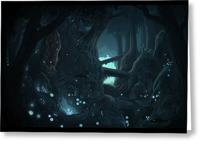 Alga Paintings Greeting Cards - Evernight forest Greeting Card by Matthew Dorad